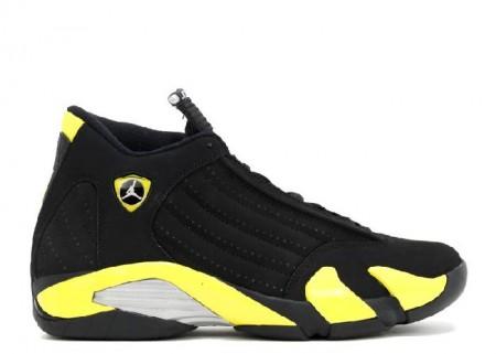 Cheap Air Jordan Shoes 14 Retro Thunder Black Vibrant Yellow White