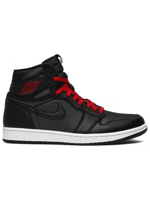 Cheap Air Jordan Shoes 1 Retro High Black Satin Gym Red