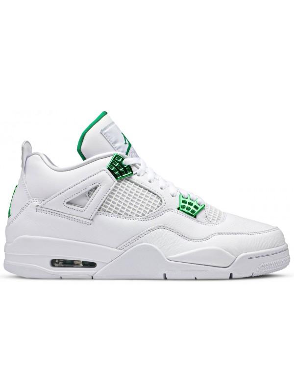 Cheap Air Jordan Shoes 4 Retro White Chrome Classic Green