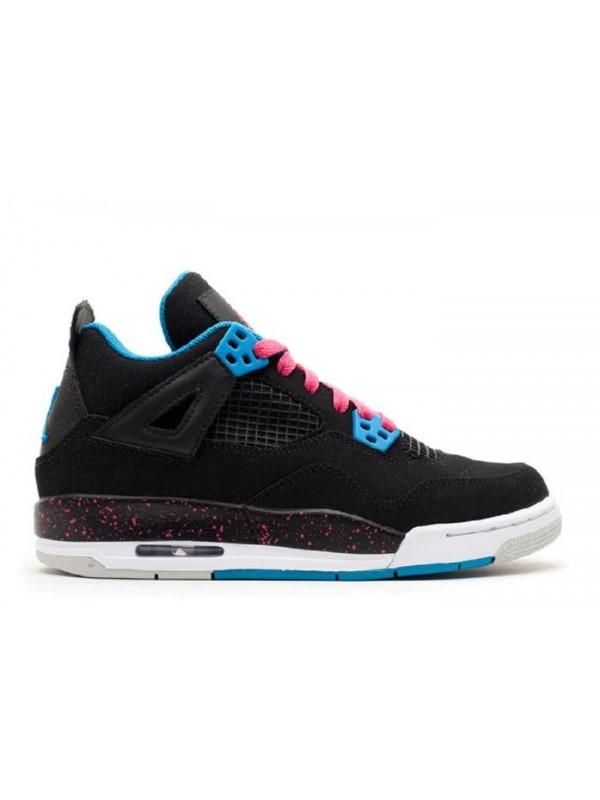 Cheap Girls Air Jordan Shoes 4 Retro Gs Black Vivid Pink Dynamic Blue White