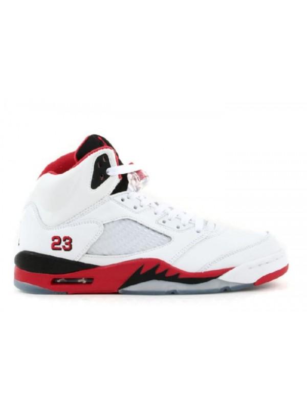 Cheap Air Jordan Shoes 5 Retro White Fire Red Black