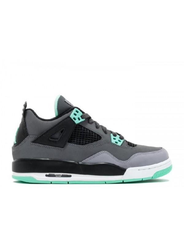 Cheap Air Jordan Shoes 4 Retro Gs Dark Grey Green Glow Cmnt Grey Black