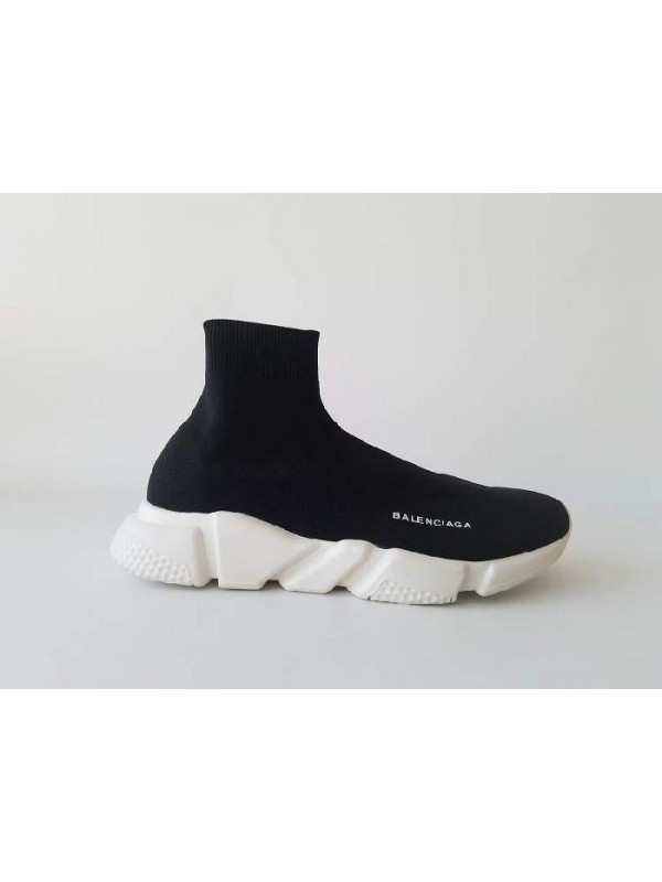 Cheap Speed Stretch-Knit Black White Bottom Mid Sneakers Online