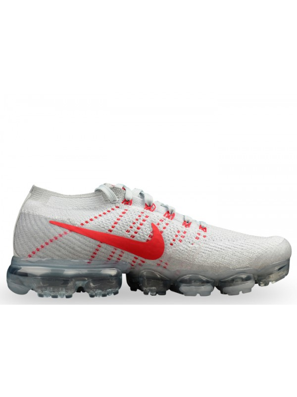 Cheap Nike Air Vapormax Flyknit Pure Platinum University Red Shoes for Sale