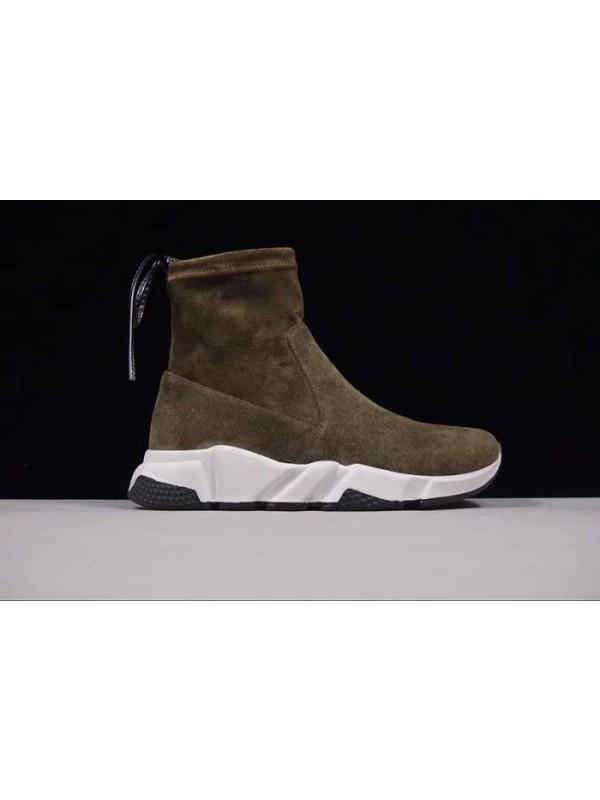 Cheap Fall/Winter Sheepskin Dark Green Sneakers Online