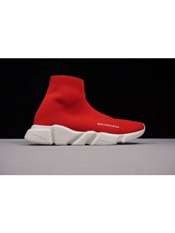 Cheap Speed Stretch-Knit Red Mid Sneakers Online