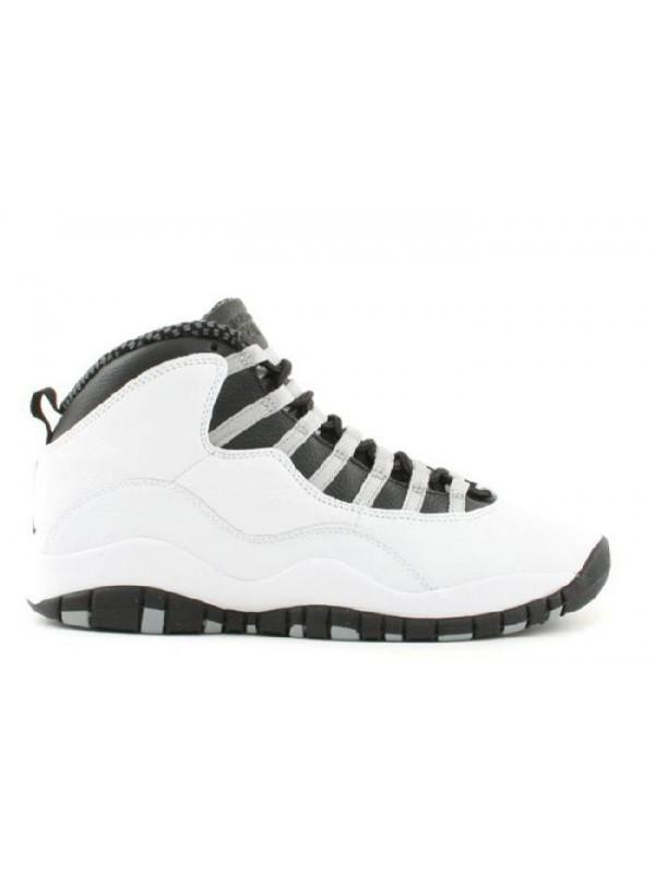 Cheap Air Jordan Shoes 10 Retro White Black Light Steel Grey Varsity Red