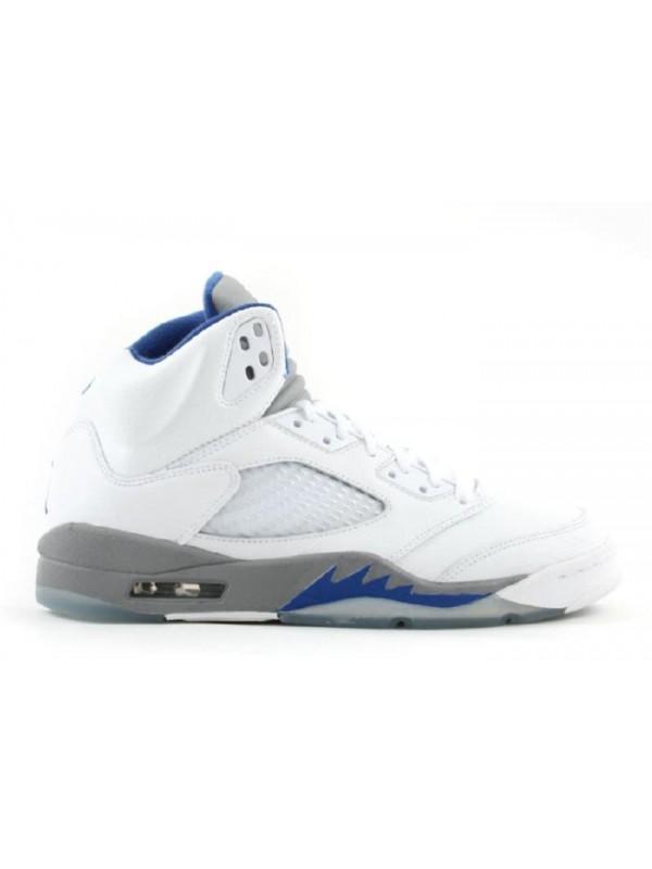 Cheap Air Jordan Shoes 5 Retro White Sport Royal-Stealth