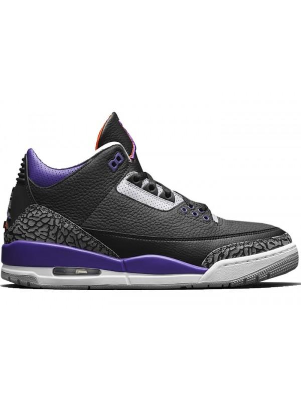 Cheap Air Jordan Shoes 3 Retro Black Court Purple